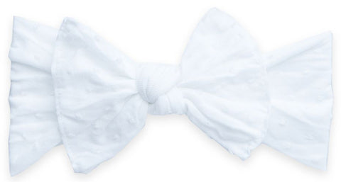 Baby Bling White Shabby Dot Patterned Knot Headband - Basically Bows & Bowties