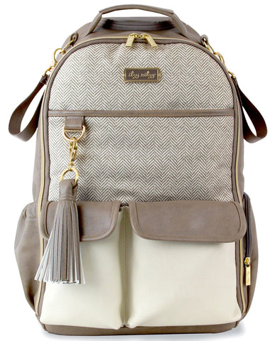 Itzy Ritzy Vanilla Latte Boss Babe Backpack Diaper Bag Basically Bows & Bowties