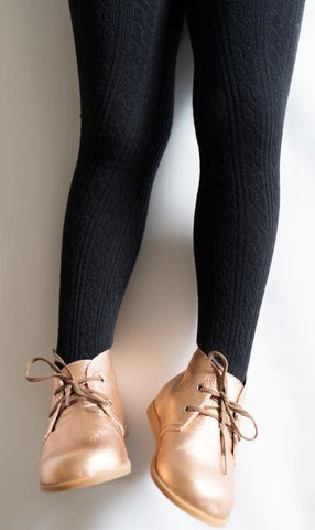 Little Stocking Co Black Cable Knit Tights Basically Bows & Bowties