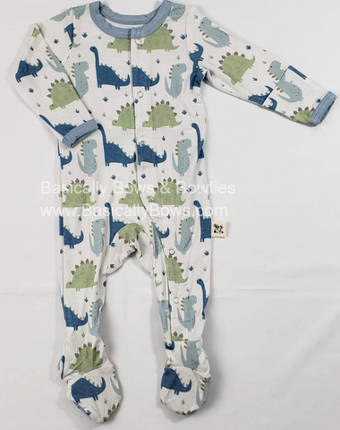 Kozi & Co Blue Dino Footie Basically Bows & Bowties