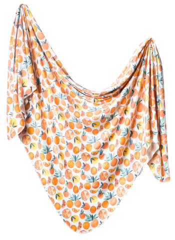 Copper Pearl Citrus Knit Swaddle Blanket