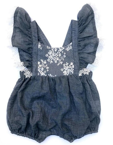 Sophie Catalou Lace Denim Blue  Mia Romper