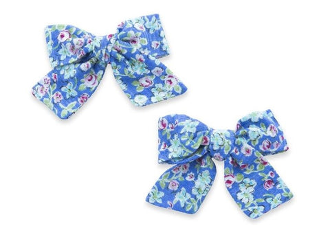 Baby Bling Azure Blue Big Cotton Bow Clip Set Basically Bows & Bowties