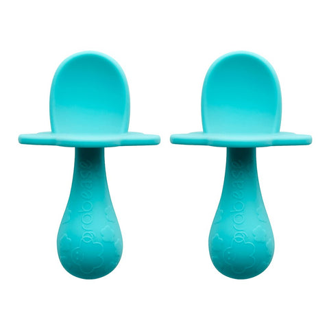 Grabease Teal My Heart Double Silicone Spoon Set