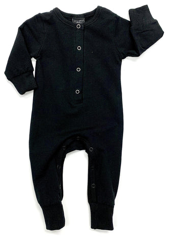 Little Bipsy Black Long Sleeve Classic Snap Romper