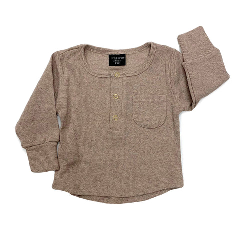 Little Bipsy Taupe Ribbed Top