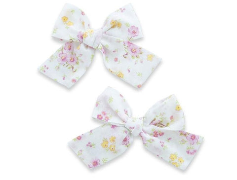 Baby Bling Pink Zinnia Big Cotton Bow Clip Set Basically Bows & Bowties