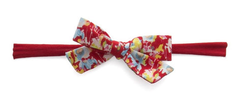 Baby Bling Red Floral Cotton Bow Skinny Headband - Basically Bows & Bowties