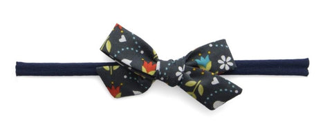 Baby Bling Navy Floral Cotton Bow Skinny Headband - Basically Bows & Bowties