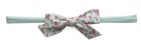 Baby Bling Seafoam Floral Cotton Bow Skinny Headband - Basically Bows & Bowties