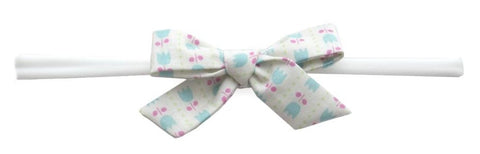 Baby Bling Blue Tulip Cotton Bow Skinny Headband - Basically Bows & Bowties