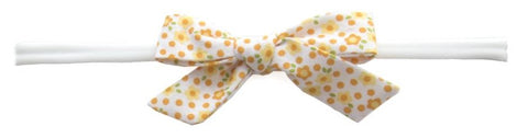 Baby Bling Orange Floral Cotton Bow Skinny Headband - Basically Bows & Bowties