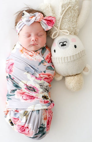 Posh Peanut French Gray Floral Swaddle & Headband Set