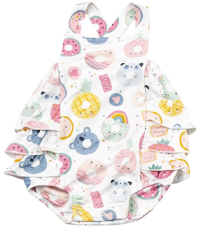 Angel Dear Donut Smiles Ruffle Sunsuit
