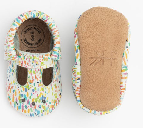 Freshly Picked Watercolor Dot Mary Jane Soft Sole Moccasins
