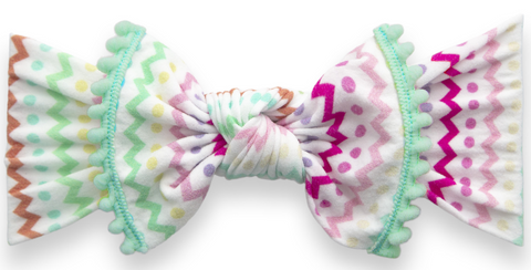 Baby Bling Easter Stripes Trimmed Printed Knot Headband