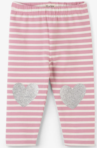Hatley Pink Stripe Heart Leggings - Basically Bows & Bowties