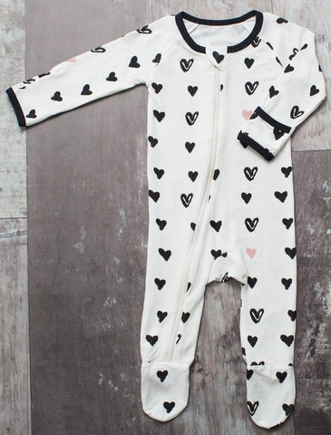 Bestaroo Hearts Footie - Basically Bows & Bowties