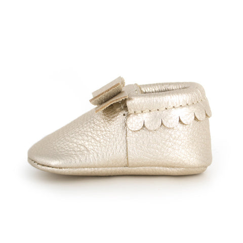 Freshly Picked Platinum Bow Moccasins