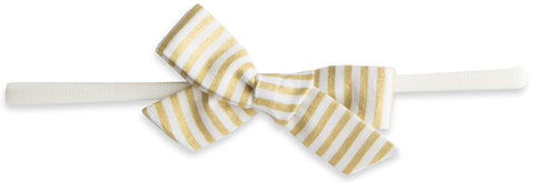 Baby Bling Gold Stripe Cotton Print Skinny Bow Headband - Basically Bows & Bowties