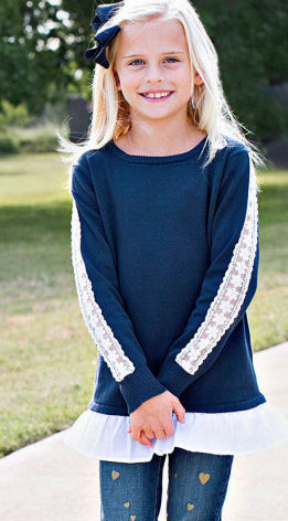 RuffleButts Navy & White Lace Sweater