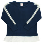 RuffleButts Navy & White Lace Sweater - Basically Bows & Bowties