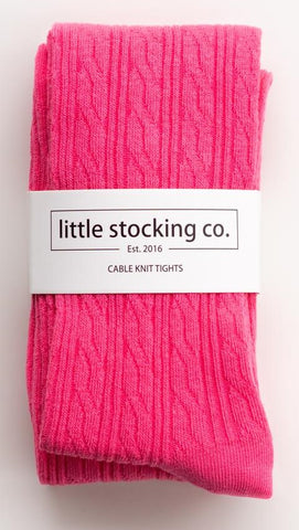 Little Stocking Co Hot Pink Cable Knit Tights