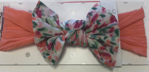 Baby Bling Coral w/Scatter Floral White Combo Print Knot Headband - Basically Bows & Bowties