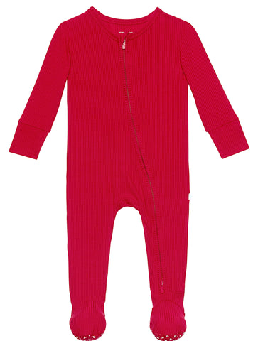 Posh Peanut Solid Ribbed Crimson Footie with Zipper