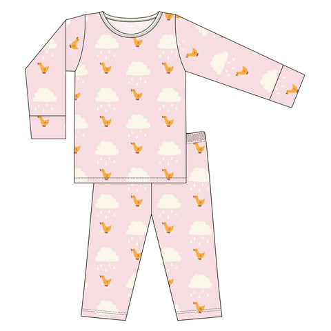 KicKee Pants Macaroon Puddle Duck L/S Pajama Set Basically Bows & Bowties