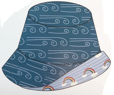 KicKee Pants Heritage Blue Wind/Pond Rainbow Reversible Bucket Hat