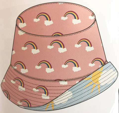 KicKee Pants Blush Rainbow Spring Sky Partial Sun Reversible Bucket Hat Basically Bows & Bowties