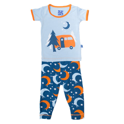 KicKee Pants Twilight Moon and Stars Short Sleeve 2pc Pajama Set - Basically Bows & Bowties
