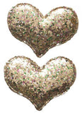 Baby Bling Gold Glitter Heart Clip Set