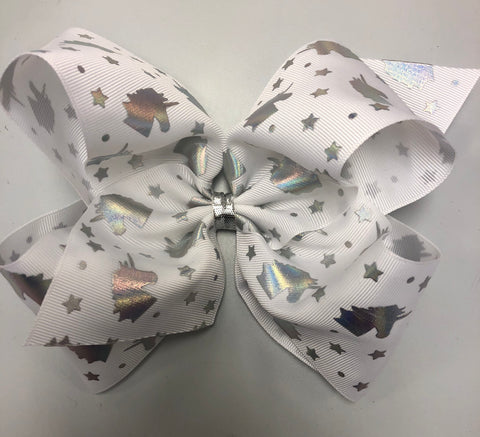 XXLarge Holographic Unicorn Bow on Clippie