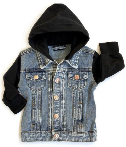 Little Bipsy Black Hooded Denim Jacket