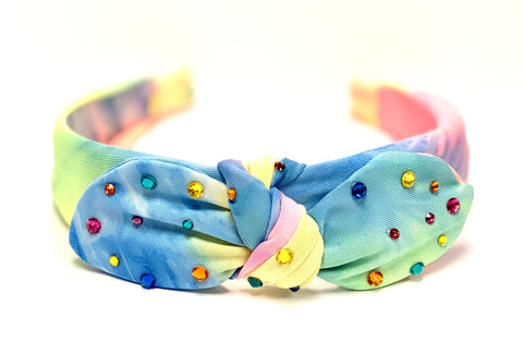 Bari Lynn Neon Rainbow Tie Dye Bow Headband with Swarovski Crystals