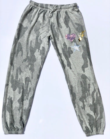 Malibu Sugar Gray Camo Foil Sweatpants