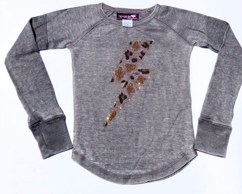 Sparkle by Stoopher Leopard Bolt L/S Thermal Tee