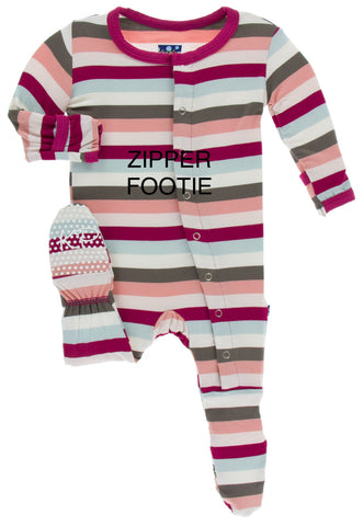 KicKee Pants Geology Stripe Footie with Zipper