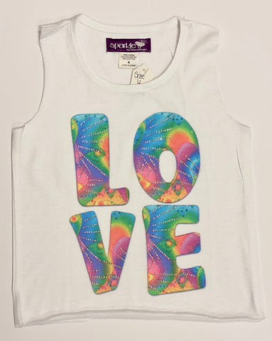 Sparkle by Stoopher Rainbow Love Raw Edge Tank