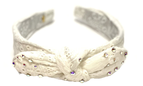 Bari Lynn White Eyelet Twist Knot Headband with Crystals