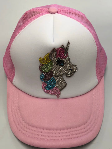 Bari Lynn Rhinestone Rainbow Unicorn Trucker Hat - Basically Bows & Bowties