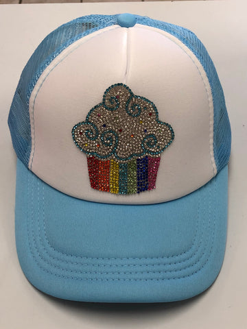 Bari Lynn Rhinestone Rainbow Cupcake Trucker Hat - Basically Bows & Bowties
