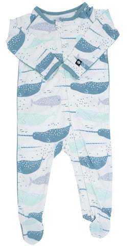 Sweet Bamboo Bliss Blue Narwhal Piped Footie with Zipper