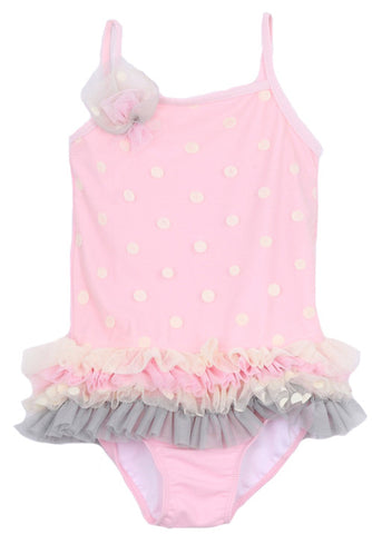 Isobella & Chloe Pink Polka Dot One Piece - Basically Bows & Bowties
