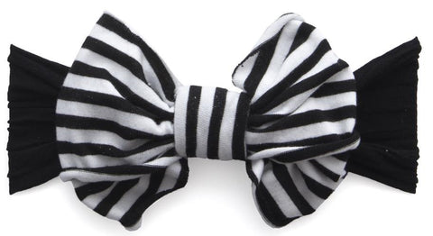 Baby Bling Black Stripe Jersey Bow Headband - Basically Bows & Bowties