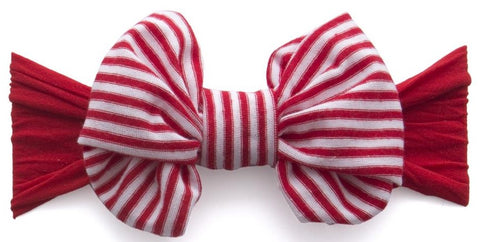 Baby Bling Cherry Stripe Jersey Bow Headband - Basically Bows & Bowties