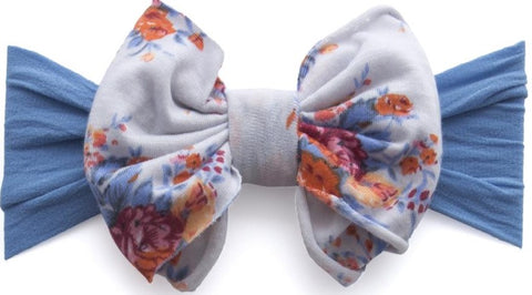Baby Bling Denim Floral Jersey Bow Headband - Basically Bows & Bowties
