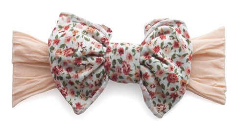 Baby Bling Peach Mint Floral Jersey Bow Headband - Basically Bows & Bowties